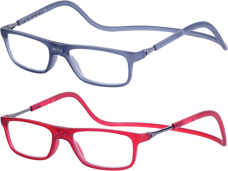 2-Pack Gafas de Lectura Magnéticas Plegables para Hombre y Mujer +1.5 (50-54 años) Presbicia Vista Montura Regulable Colgar del Cuello y Cierre con Imán, Transparente Gris + Transparente Rojo