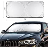 """2win2buy Car Sunshade Jumbo (59"""" x 33.5"""") Fits More Vehicles & Keeps Car Truck SUV Minivan Cool & Protected From UV Rays - Easy to Use Front Windshield Shade"""