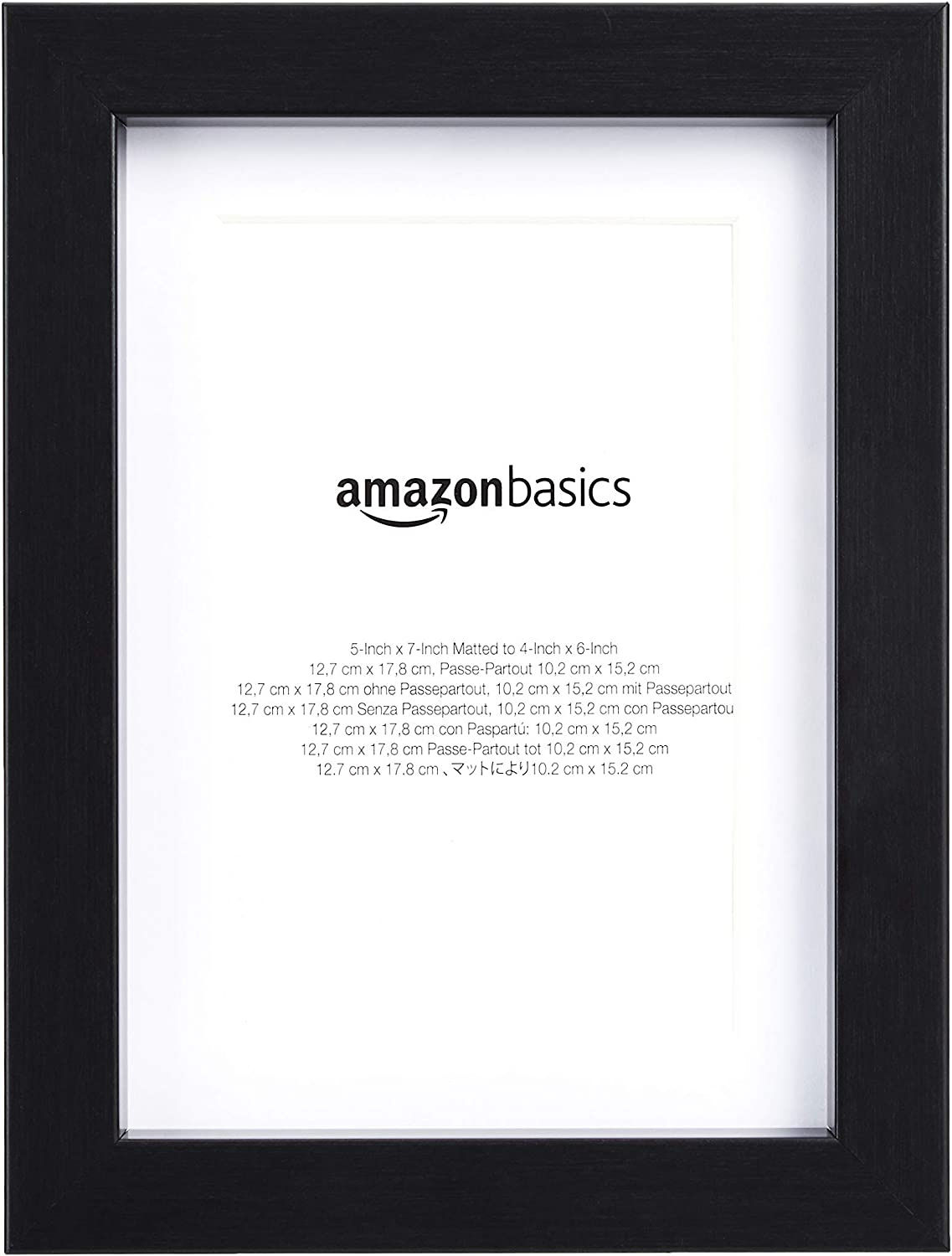 "AmazonBasics 5"" x 7"" Photo Picture Frame or 4"" x 6"" with Mat - Black, 2-Pack"