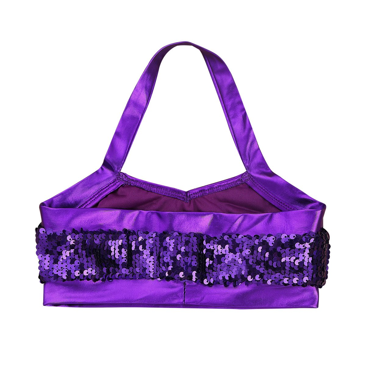 Freebily Girls Sequins Halter Crop Tops Camisole Tank Undershirt Dance Top Sport Bra Stage Performance Party Costume