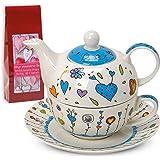 Teiera Tea for one–Set da tè con teiera, tazza e piattino cuore/fiori blu 17x 13cm, in confezione regalo