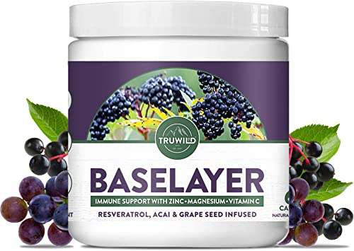 Baselayer Immune Support Antioxidant Supplement with Vitamin C, Zinc, Magnesium, Resveratrol, Cranberry, Acai Grape Seed Extract Vegan Non GMO 60 Capsules