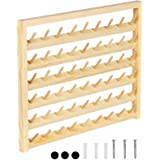 HAITRAL 54-Spool Sewing Thread Rack, Wall-Mounted Sewing Thread Holder with Hanging Hooks, Wooden Organize for Mini…