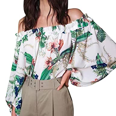 b5524be211ca4 Bovake Womens Solid Off Shoulder Long Sleeve Blouse Plus Size ...