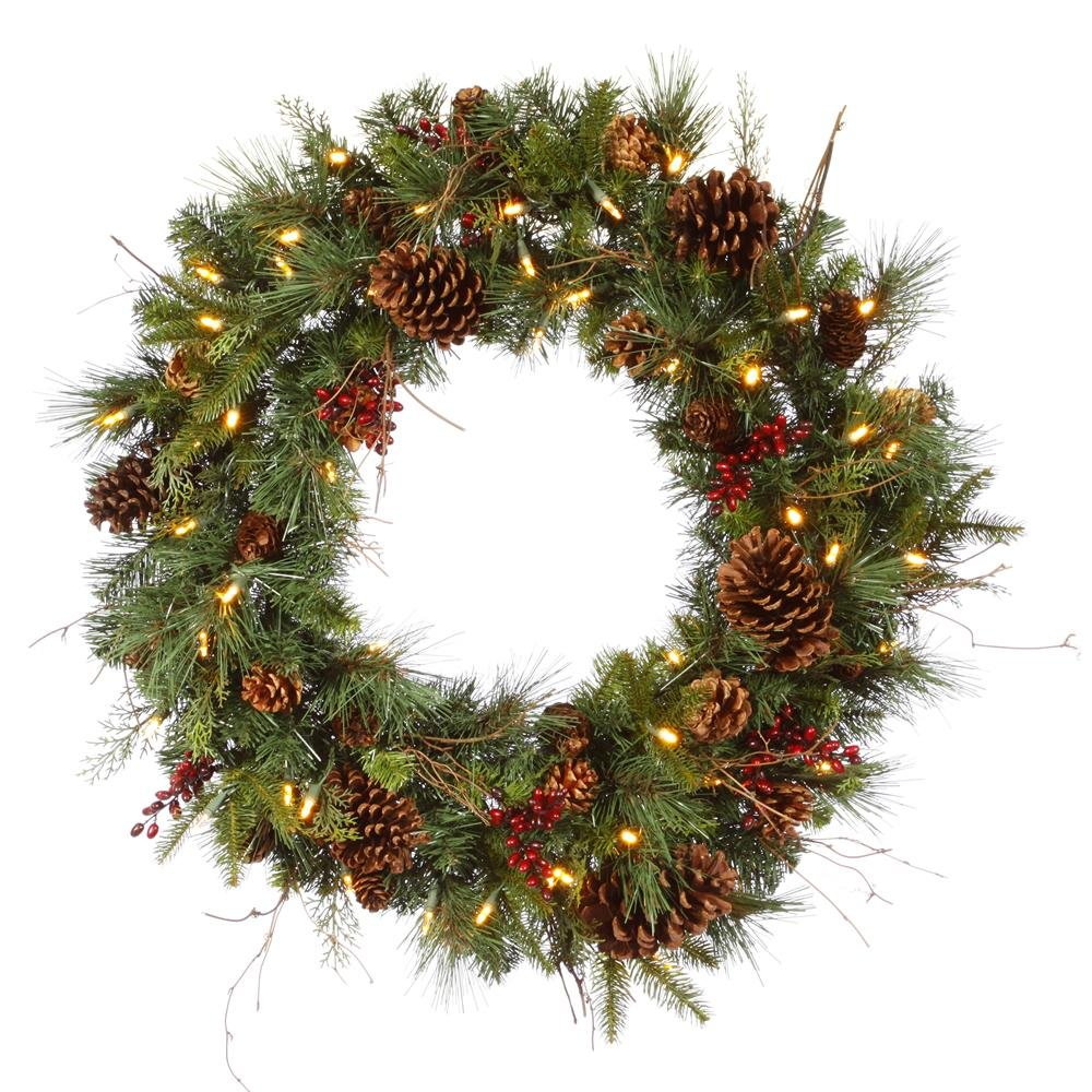 36'' Pre-lit Cibola Mix Berry Pine Artificial Christmas Wreath - Warm Clear LED Lights