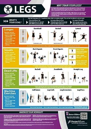 Ejercicio de piernas   Entrenamiento completo de piernas   Mejora el entrenamiento de fuerza   Póster laminado de gimnasio y hogar   Incluye soporte ...