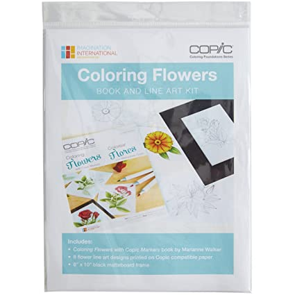 Copic Coloring Flowers Book & Line Art Kit-: Amazon.de ...