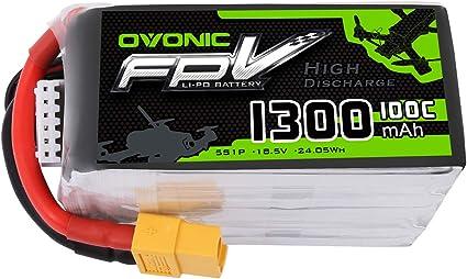 OVONIC FPV Lipo bater/ía 1300mAh 18.5V 5S 100C
