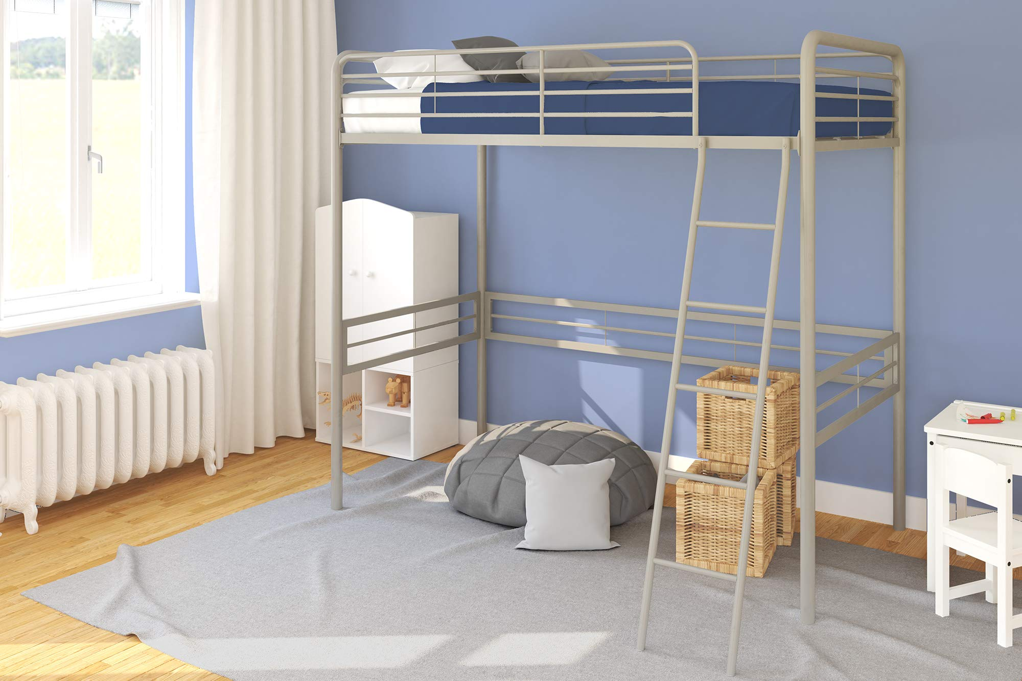DHP Simple Metal Loft Bed Frame, Multifunctional, Twin Size, Gray by DHP