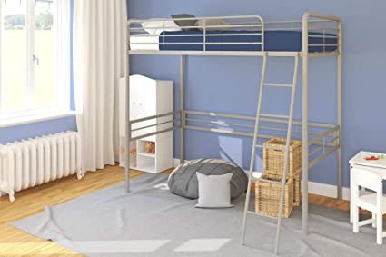Twin Loft Bed.Dhp Simple Metal Loft Bed Frame Multifunctional Twin Size Gray