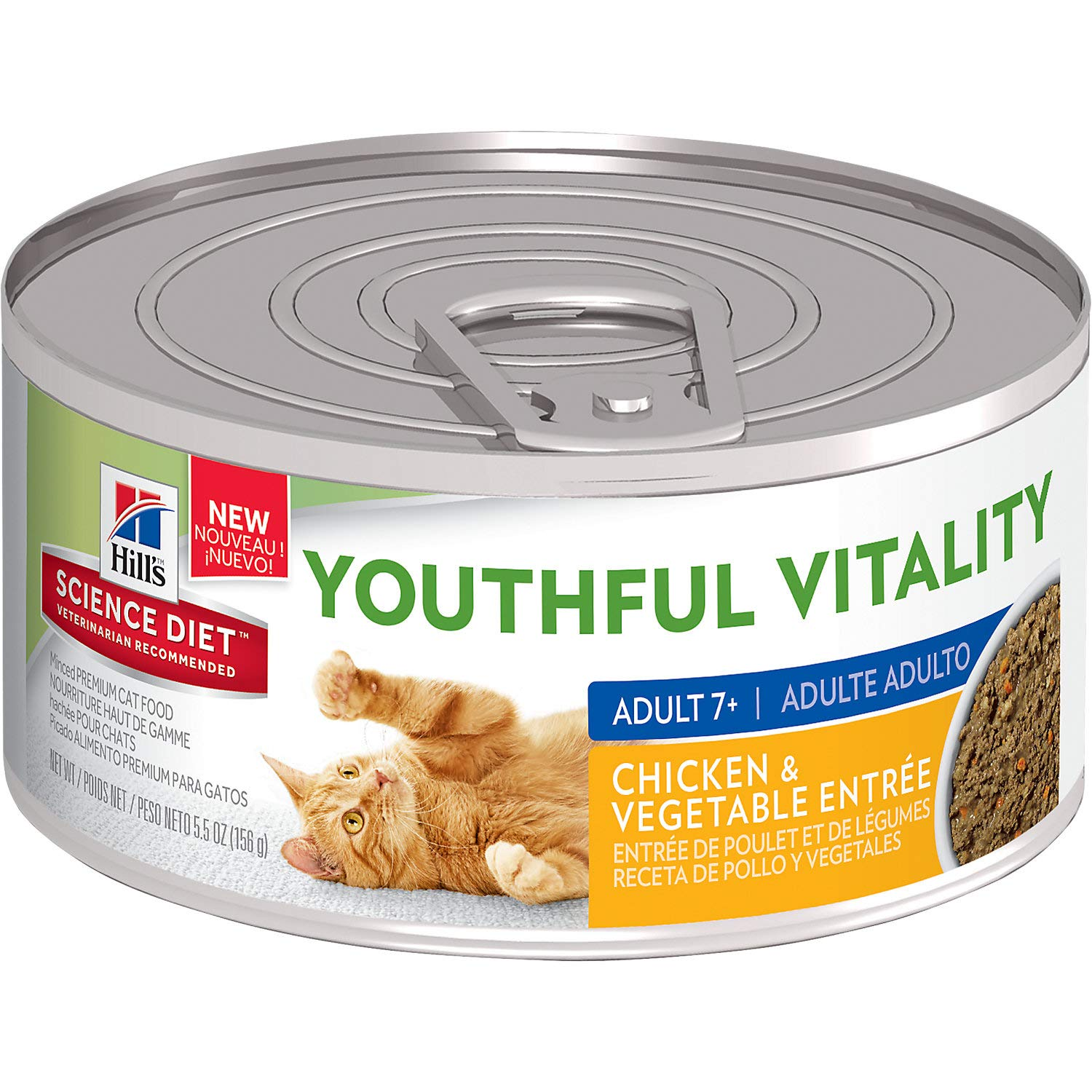 Amazon.com : Hills Science Diet Youthful Vitality Adult 7+ Chicken & Vegetable Entre Wet Cat Food, 5.5 oz, Case of 24, 24 X 5.5 OZ : Pet Supplies