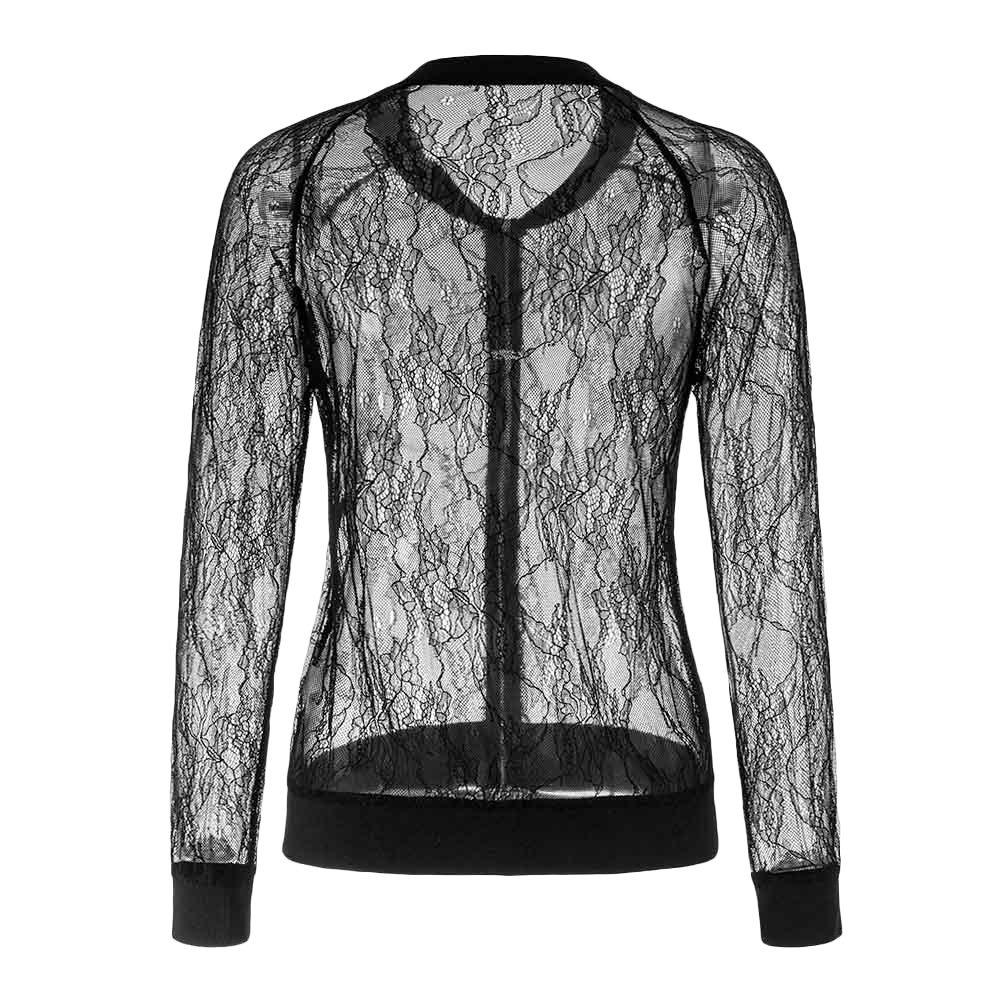 Women's Casual See Through Lace Patchwork Zip Up Bomber Jacket Short Coat Tops Black XXL by Joseph Costume (Image #6)