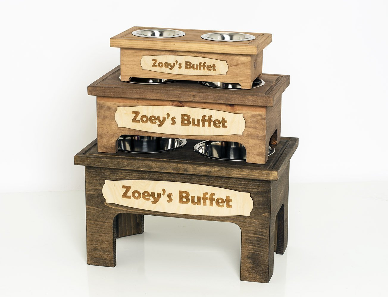 Personalized Solid Pine Wood Elevated Double Bowl Pet Stand/Handmade