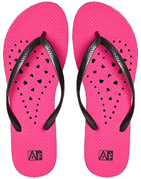 Aquaflops Womens' Antimicrobial Shower & Water Sandals - Hot Pink/Black Elongated Heart Small