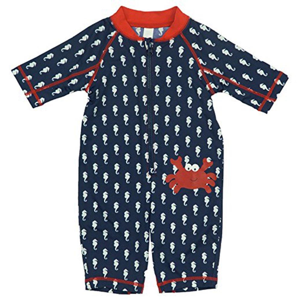 Kiko & Max Baby Boys Full Body Rash Guard Swim Suit Coverall, Crab, 3-6 Months