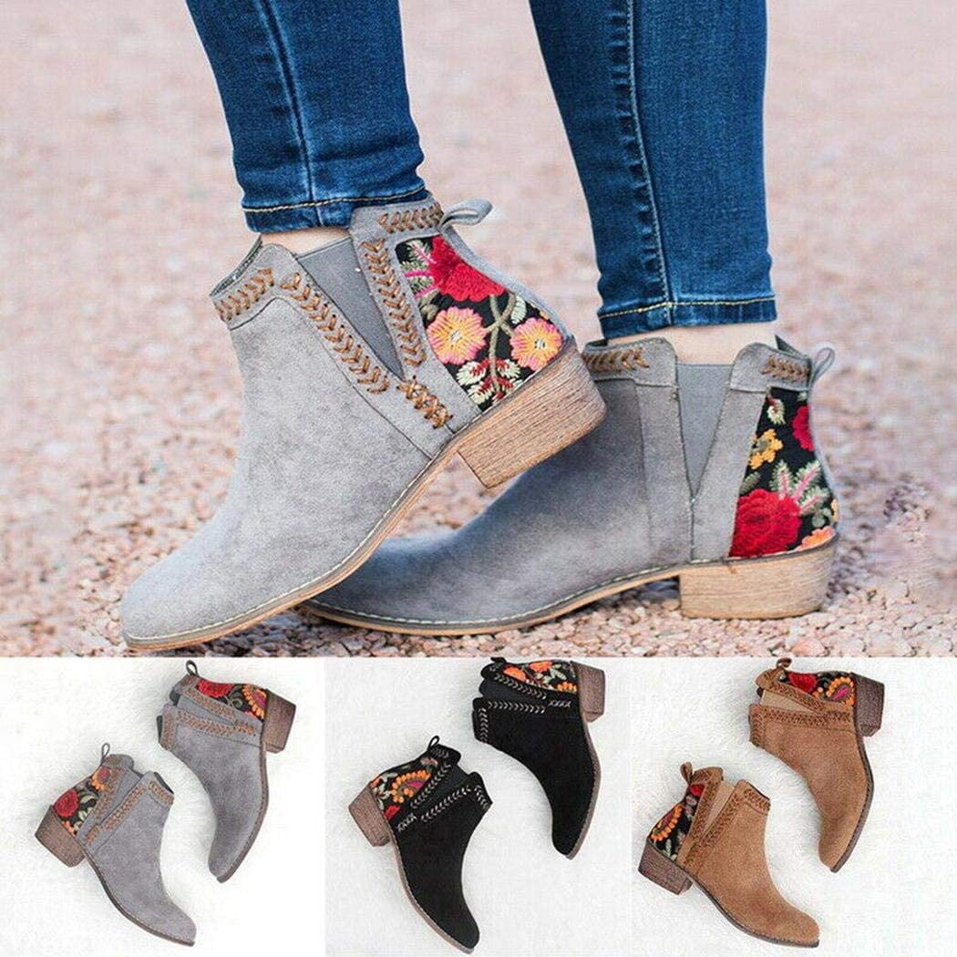 Nabsna Women Middle Heel Non-Slip Breathable Embroidered Boots Brush /& Pen Cleaners