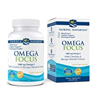 Nordic Naturals Omega Focus, Lemon - 60 Soft Gels - 1280 mg Omega-3 + Citicoline & Bacopa Monnieri Extract - Focus, Attention, Memory, Brain Health - Non-GMO - 30 Servings