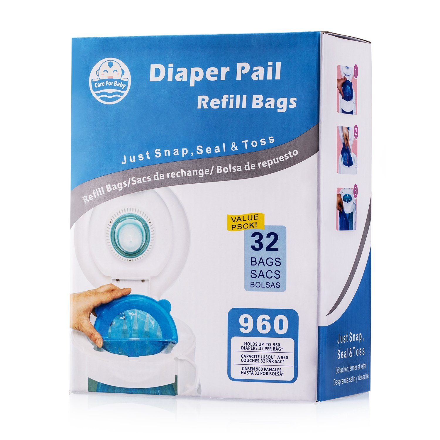 Careforbaby Diaper Pail Refill Bags (960 Counts) Fully Compatible with Arm&Hammer Disposal System - 32 Bags