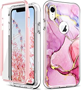 PIXIU for iPhone XR Case with Screen Protector, Lightweight Dual Layer Full Body Shockproof Protective Rugged Case for Apple iPhone XR 6.1 inch 2018 Released (Marble)
