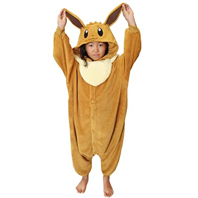 SAZAC Kigurumi - Pokemon - Eevee - Onesie Jumpsuit Halloween Costume - Kids Size (5-9 Year Old) Brown: Clothing