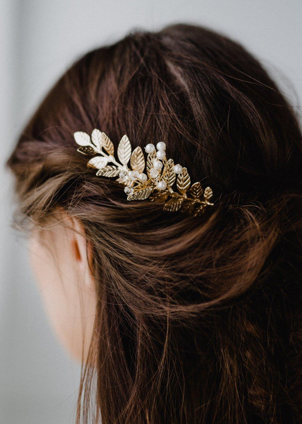 Chargances Peigne /à cheveux pour mari/ée et demoiselle dhonneur en cristal et feuille dor