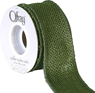 "product image for Offray 1.5"" Wide Wired Edge Burlap Ribbon, 3 Yards, Moss Green"