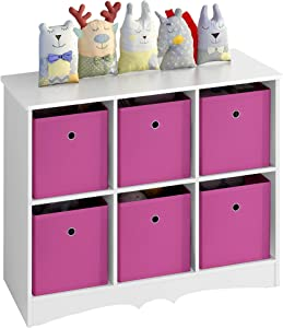 4NM Kids Toy Storage Cubby, Kids Bookshelf Bookcase with 6 Large Storage Drawers for Children's Room Playroom Kindergarten (Pink)