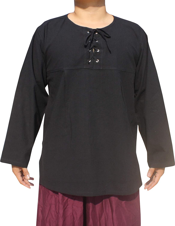 Svenine Cotton Open Collar Renaissance Shirt Long Sleeve Plus Size