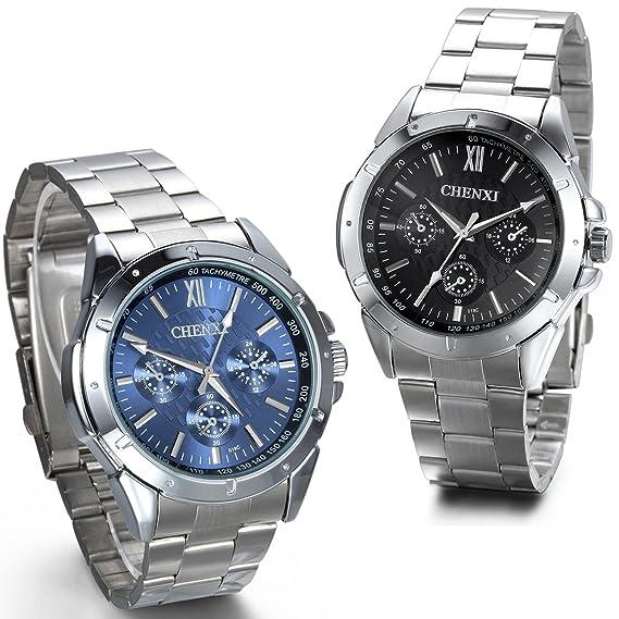 JewelryWe - 2 relojes de pulsera para hombre, acero inoxidable, cronógrafo de imitación