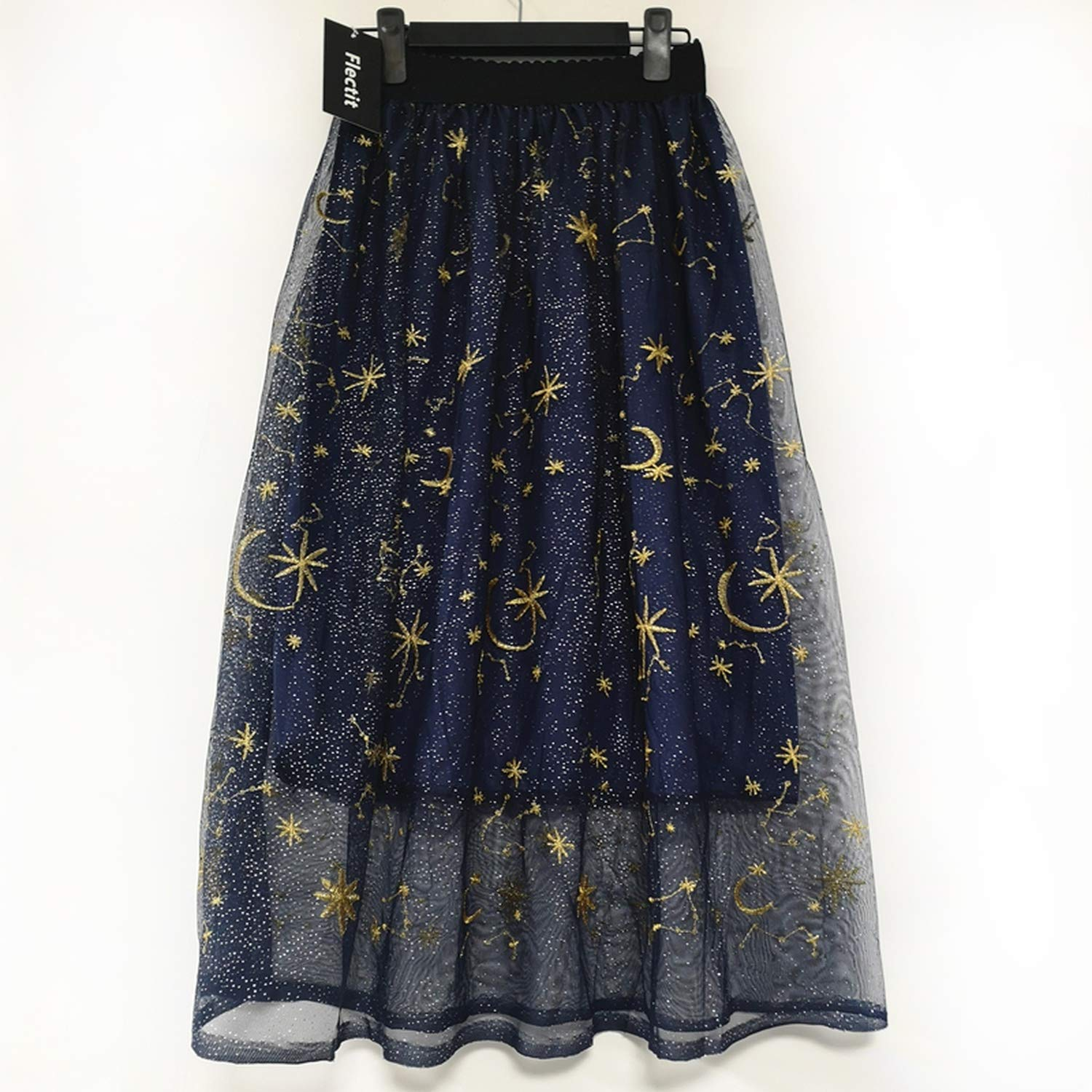 9fd0a4716a0c3 Flectit Gold Moon Star Embroidered Tulle Skirt Semi Sheer Fabric ...