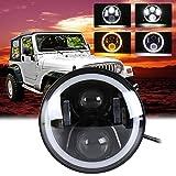 Romerofs 7 Inch LED Headlight Round Shape Refitting Headlight Halo Projectors and Halo Fog Lights for Jeep for Wrangler