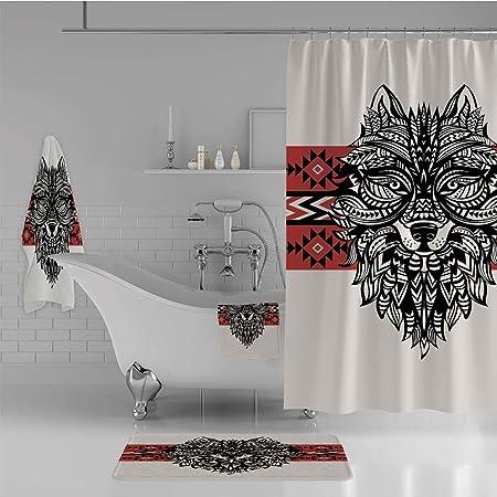iprint - Juego de 4 Piezas de Cortina de Ducha para baño con ...