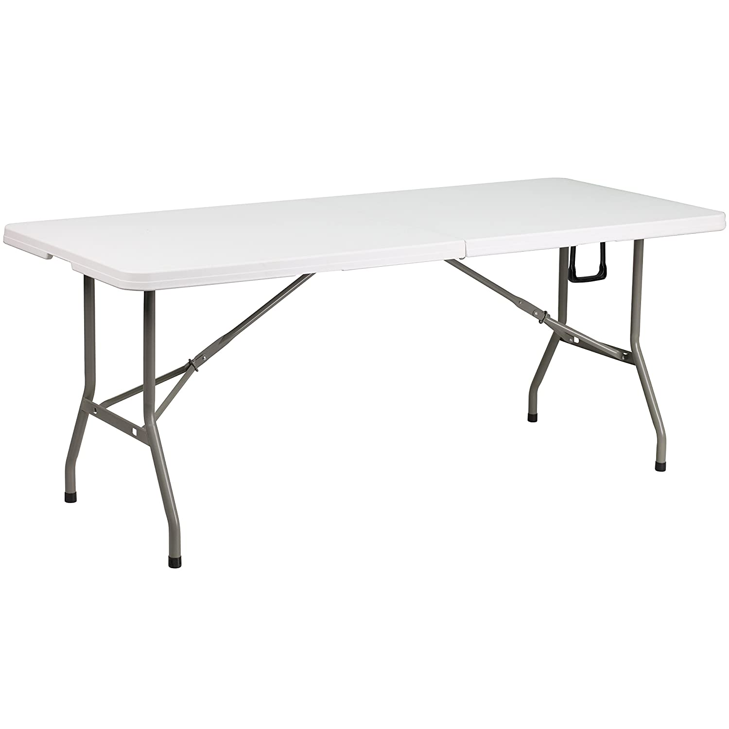 Flash Furniture 30''W x 72''L Bi-Fold Granite White Plastic Folding Table