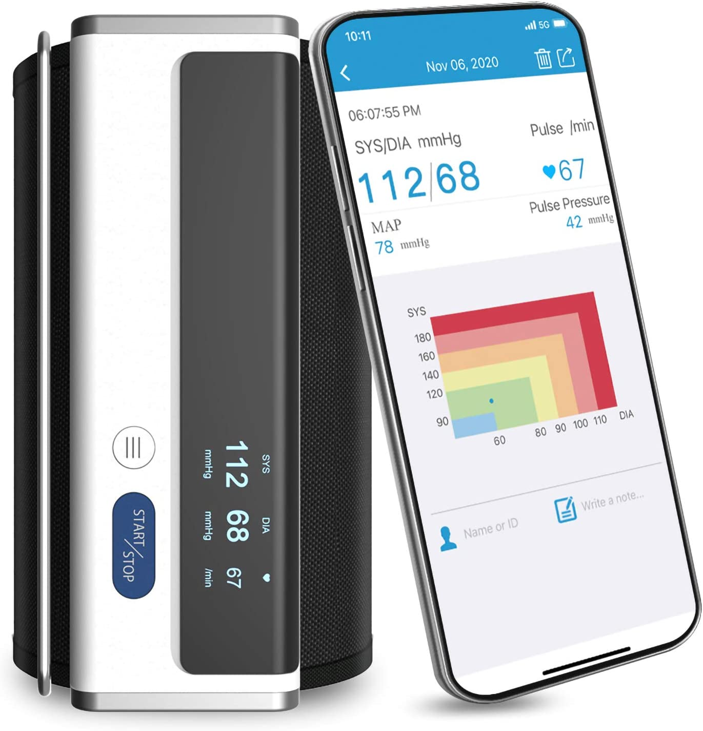 Wellue Smart Bluetooth Blood Pressure Monitor with Large Upper Arm Cuff, Automatic Wireless Blood Pressure Machine, Storesup to 50 Readings with Multi-Users Management with Free APP for iOS & Android
