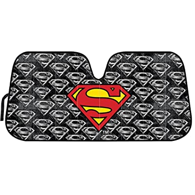 BDK Superman Logo DC Comics Official Licensed Front Windshield Sun Shade-Accordion Folding Auto Sunshade for Car Truck SUV-Blocks UV Rays Sun Visor Protector-Keep Your Vehicle Cool- 58 x 27 Inch: Automotive