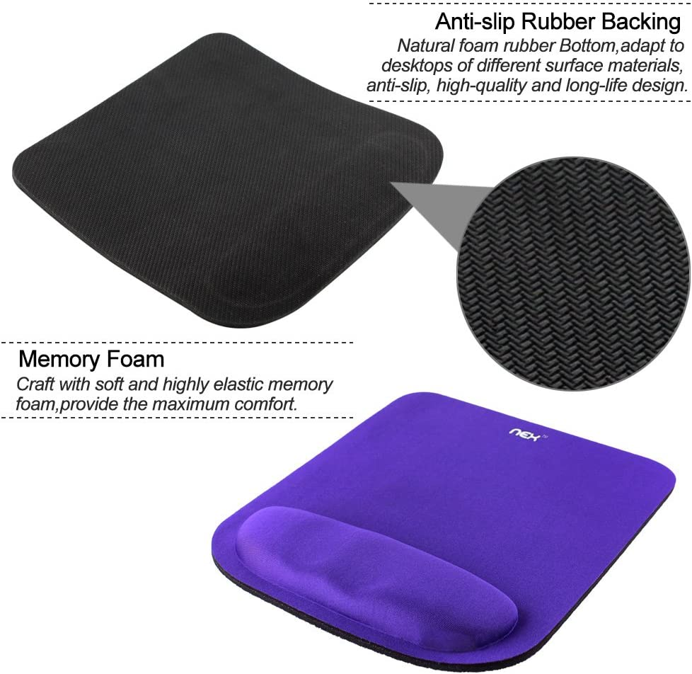 NEX Ergonomic Mouse Pad with Wrist Support Memory Foam Keyboard Wrist Rest Pad for Office Computer Pain Relief