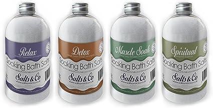 Epsom sales de baño Multi Pack – 4 botellas de 500 G Relax, Detox, Muscle Soak, espiritual – Aceites Esenciales – Aromaterapia Sales & Co: Amazon.es: Belleza