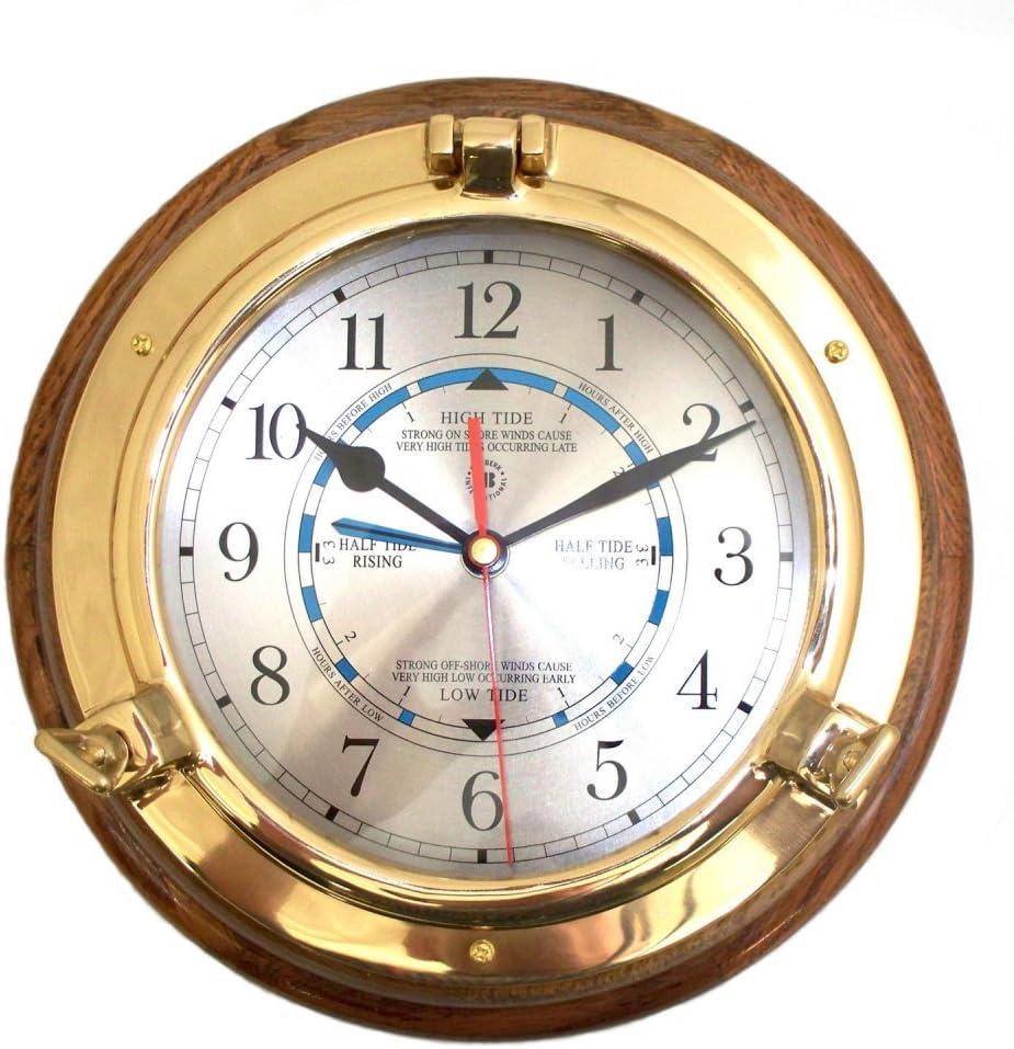 Lacquered Brass Porthole Tide /& Time Quartz Clock On Oak