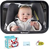 Baby Car Mirror for Back Seat, Clear Rearing Facing Mirror, 360 Degree Adjustable Wide Convex Shatterproof Glass, Fully Assem