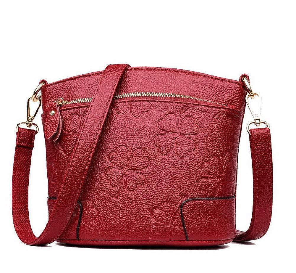 Claret AmoonyFashion Women's Bags Zippers Shopping Pu Crossbody Bags,BUTBS182123