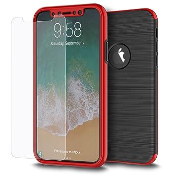 a58473396fa WATACHE Funda iPhone XS/X, 360 ° Protector Cuerpo Completo Textura metálica  cepillada Funda