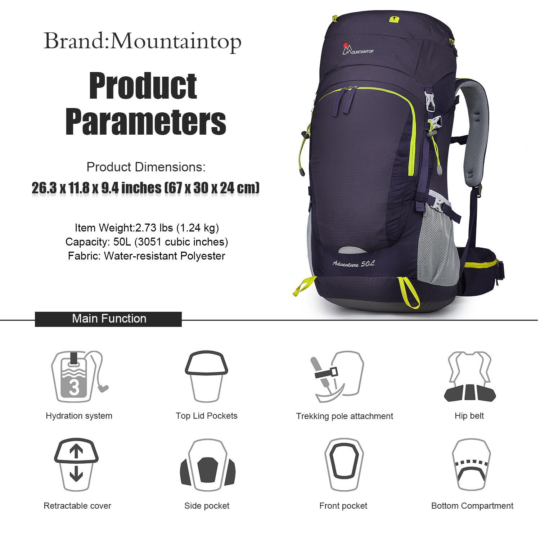 8f382bbbd MOUNTAINTOP 50/55/60/65L Mochila de Senderismo Impermeable Multifuncio/Mochila  Trekking/Escalada Mochila/Mochila de Camping/Mochila de Viaje con Cubierta  de ...