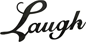 Laugh Black Metal Wall Word