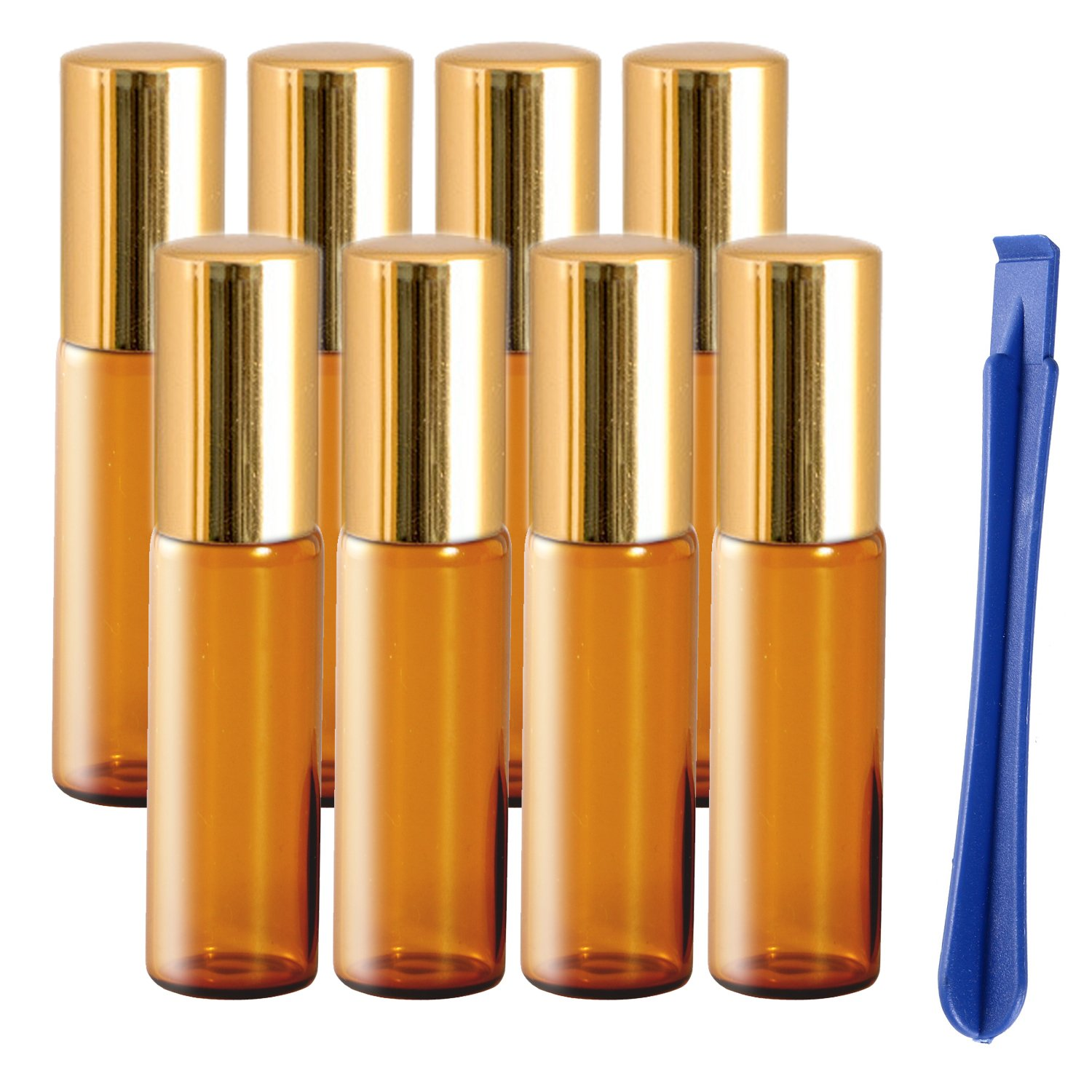 8Pcs, 5ml Glass Essential Oils Roller Bottles with Stainless Steel Roller Ball - Refillable Roll on Bottles with Lid Opener Pry Tool, Great for Aromatherapy, Perfumes and Lip Balms by JamHooDirect