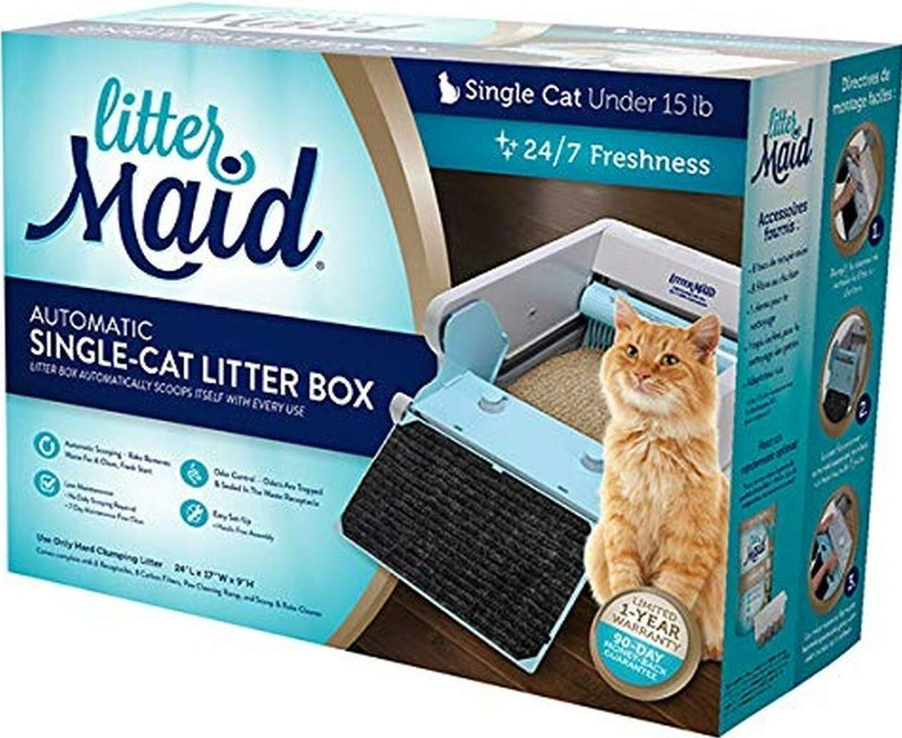 LitterMaid LM680C Single Cat Self-Cleaning Litter Box w/8 receptacles/8 Filters by LitterMaid