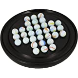 ShalinIndia 手作り インド木製 ガラスビー玉ソリティアボードゲーム - 大人向けのユニークなギフト