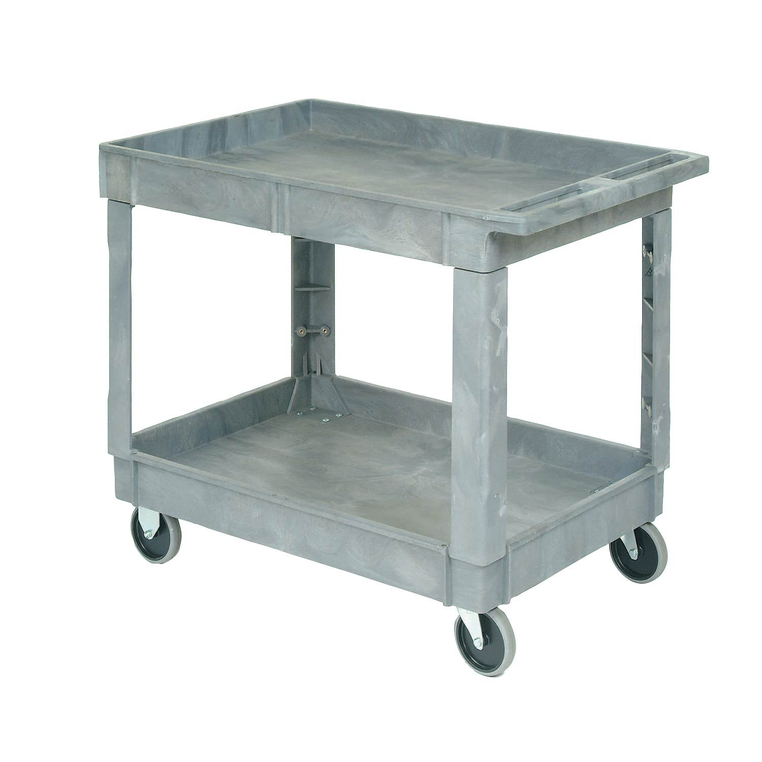 Plastic 2 Shelf Tray Service & Utility Cart 40 X 26 - 5 Inch Rubber Casters