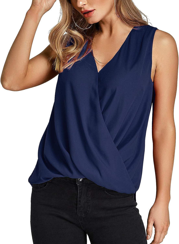 YOINS Camiseta Sin Mangas Mujer Camisola Gasa Camiseta con Cuello En V Camisa Trabajo Informal Playa Blusa Tops Verano: Amazon.es: Ropa y accesorios