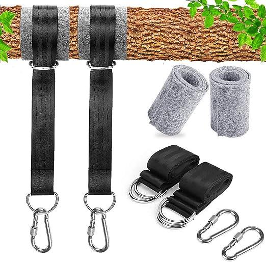 Swing Hammock Tree Hanging Kit Strap Hooks Carabiner Garden Swing Straps Rope UK