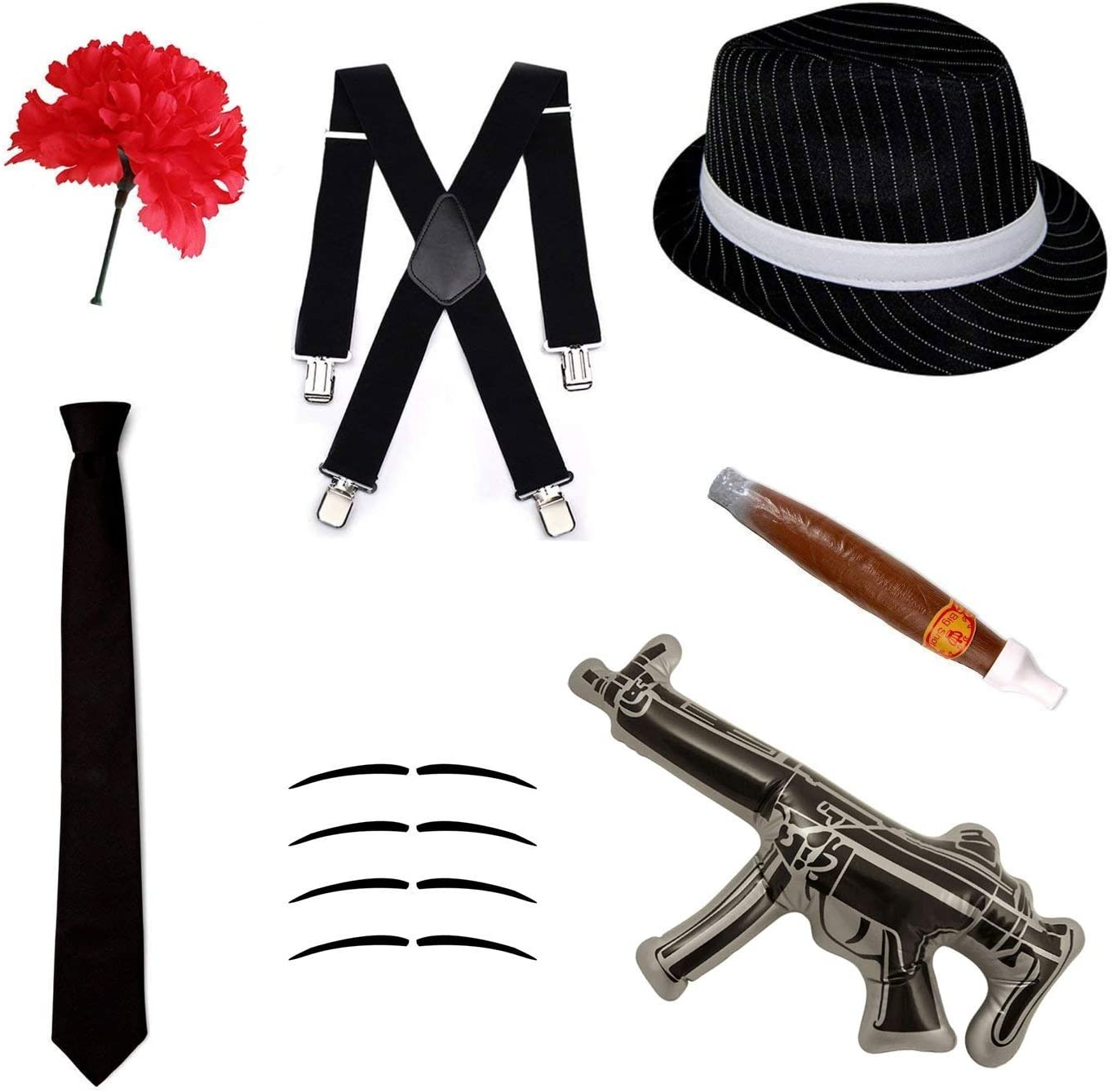 /& Gun 1920s Costume Stag Outfit Braces Mens Gangster Fancy Dress Hat Tie
